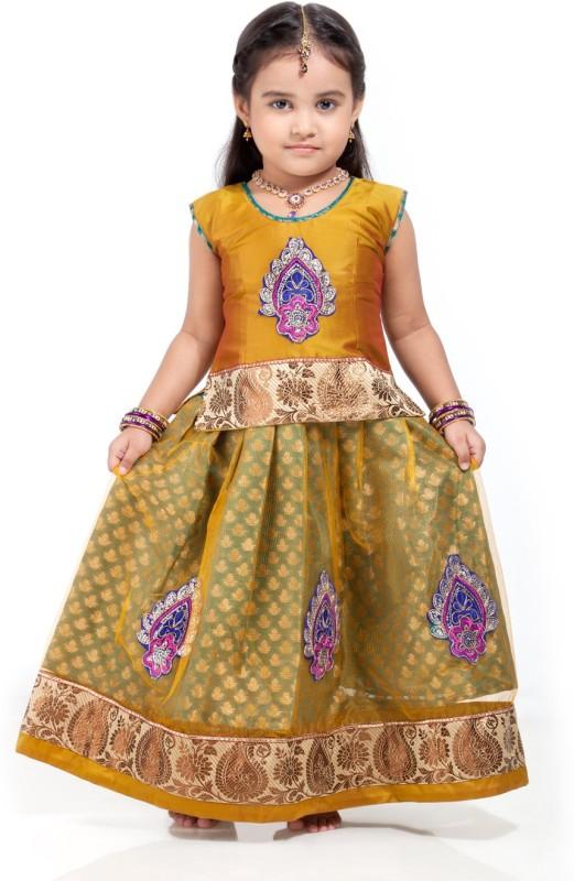 Kanakadara Girls Lehenga Choli Ethnic Wear Self Design Lehenga Choli(Gold, Pack of...