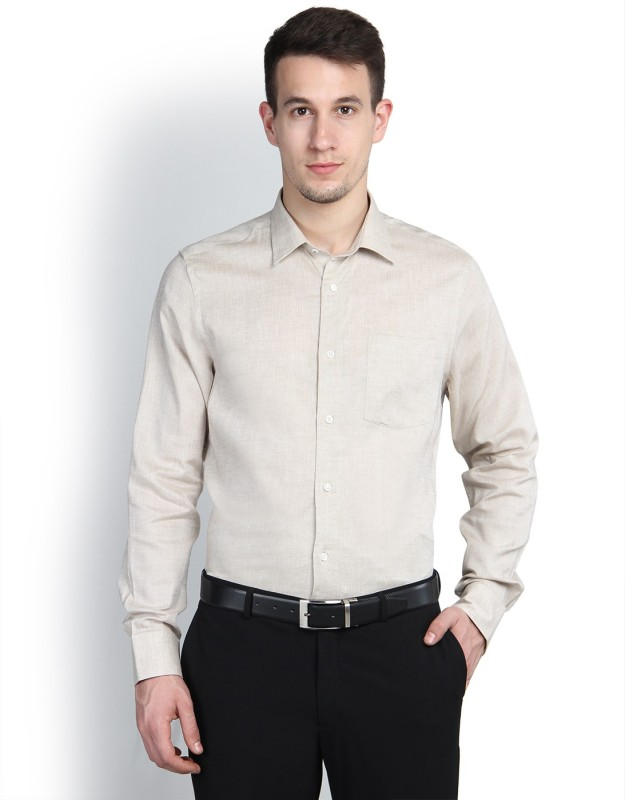 Blackberrys Mens Solid Formal Beige Shirt