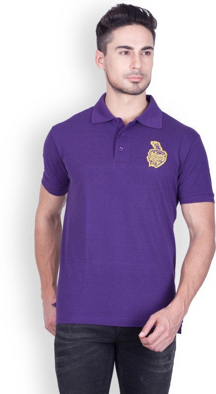 Kolkata Knight Riders Solid Men's Polo Neck Purple T-Shirt