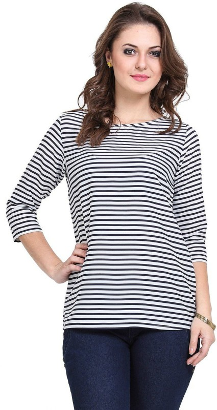 Larwa Party 3/4 Sleeve Solid Women Dark Blue, White Top
