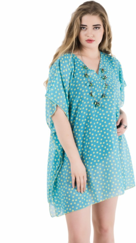 Qurvii Casual Half Sleeve Polka Print Women Light Blue Top