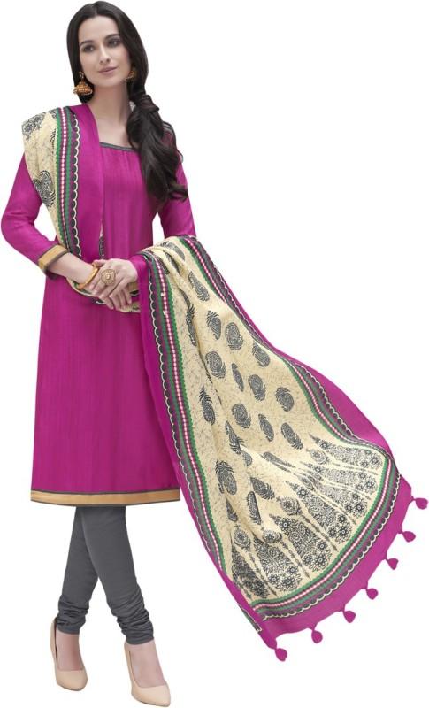 Saara Cotton Silk Blend Solid, Printed Salwar Suit Dupatta Material(Un-stitched)