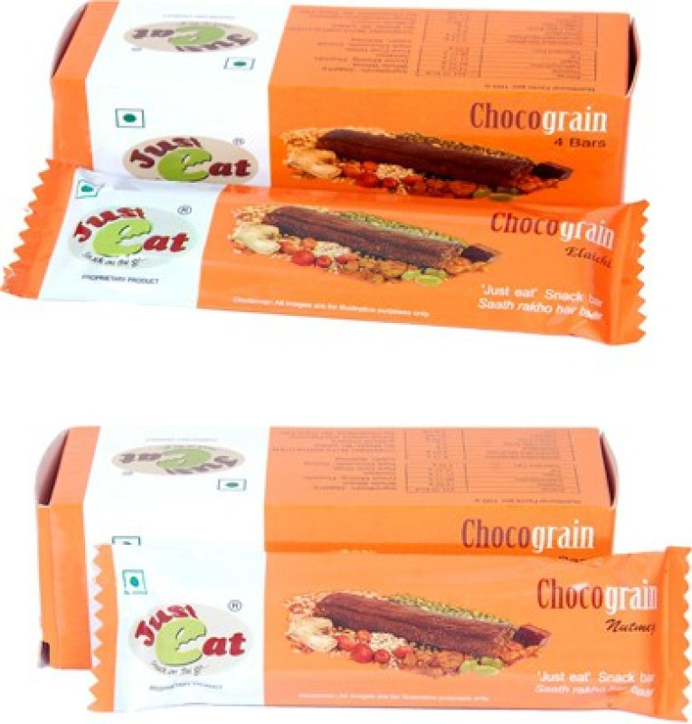 Just eat Snack on the go... Chocograin Elaichi and Nutmeg(Each pack of 4 bar) Energy Bars(8 No, Elaichi, Nutmeg)