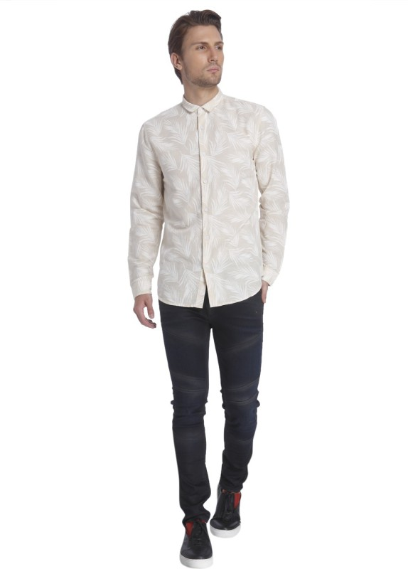 Jack & Jones Mens Printed Casual Beige Shirt