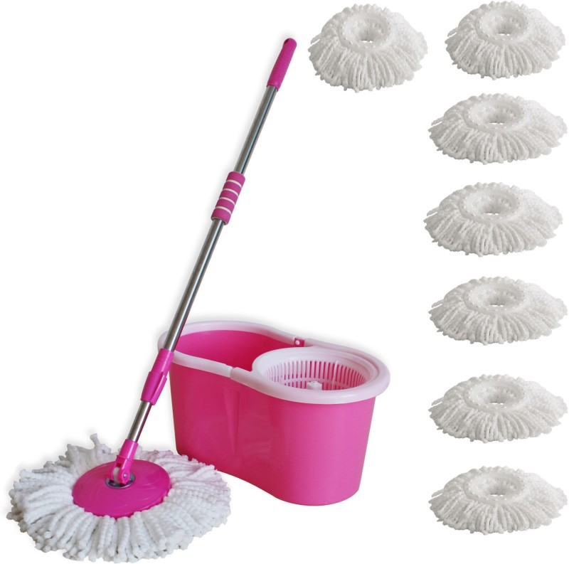 Easy to Clean Spin Mop with 7 Microfibre Mop Set(Built in Wringer Pink)