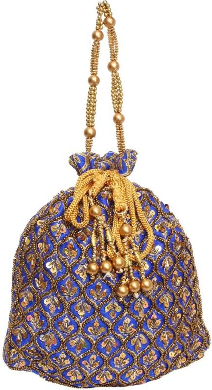 Bagaholics Ethnic Silk Potli Batwa Potli(Gold, Blue)