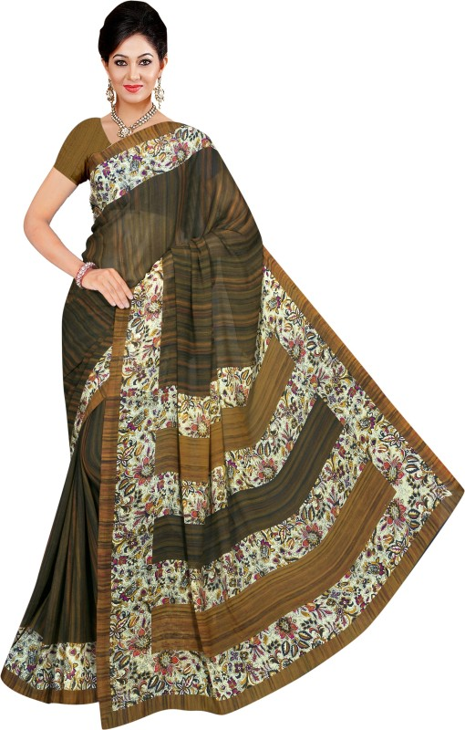 Winza Designer Printed, Self Design, Paisley, Geometric Print, Solid Daily Wear Poly Georgette Saree(Multicolor)