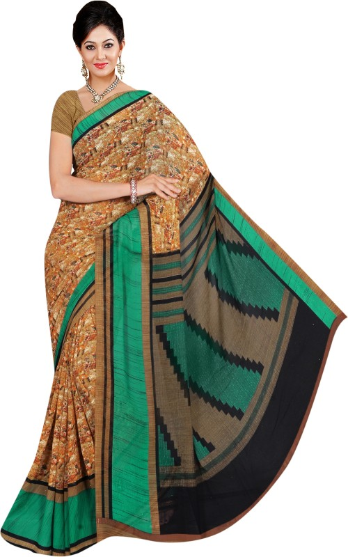 Winza Designer Printed, Self Design, Paisley, Floral Print, Solid Daily Wear Poly Georgette Saree(Multicolor)
