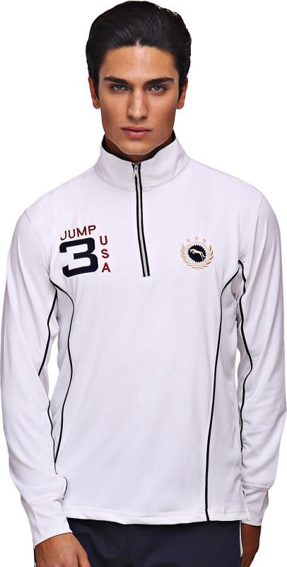 JUMP USA Self Design Men Polo Neck White T-Shirt