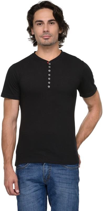 TSX Solid Men Henley Black T-Shirt