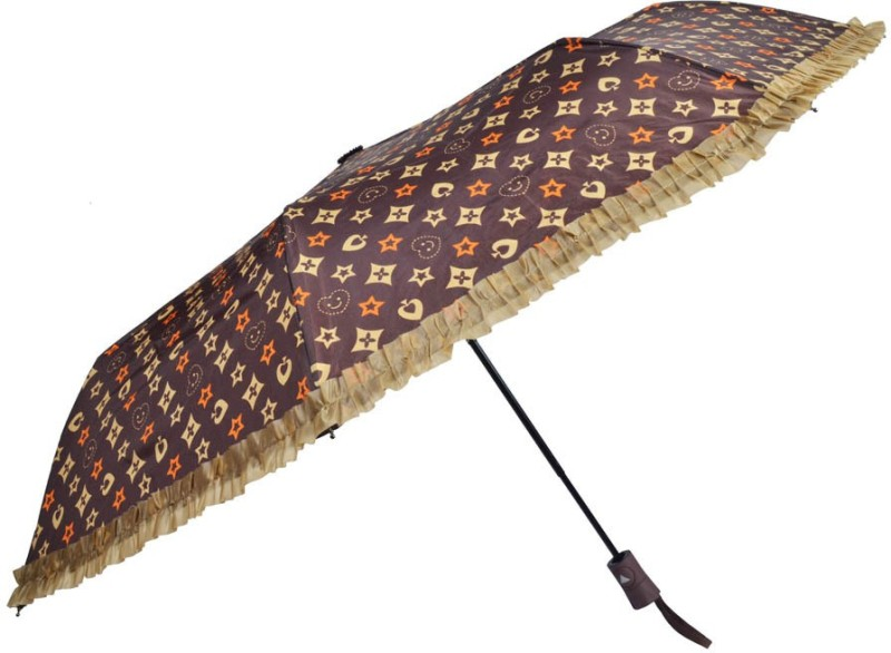 Murano 3 fold LV Print desing auto open Umbrella(Purple)