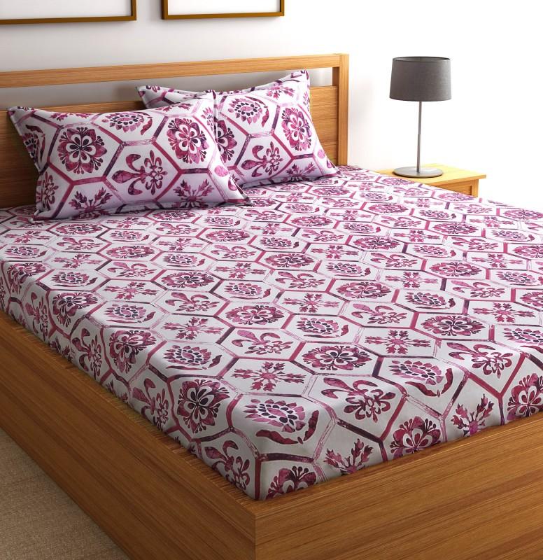 Flipkart SmartBuy 104 TC Cotton Double Geometric Bedsheet(1 Double Bedsheet and 2...