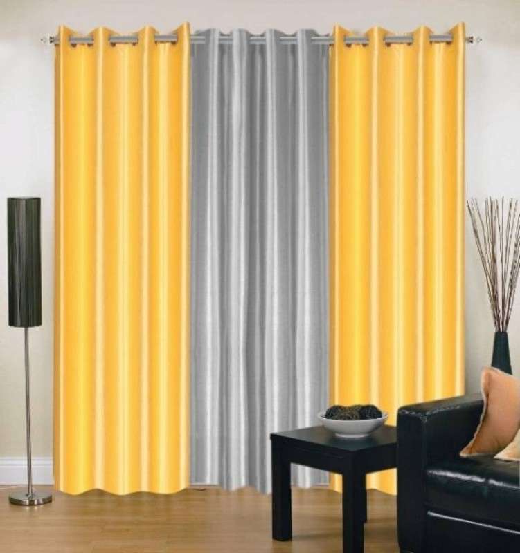 IDOLESHOP 274.5 cm (9 ft) Polyester Long Door Curtain (Pack Of 3)(Solid, White, Yellow)