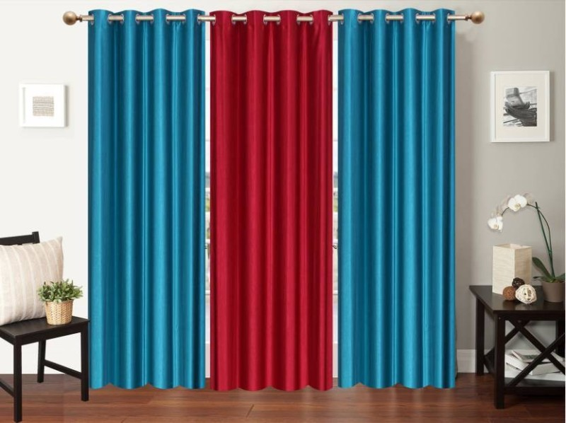 IDOLESHOP 274.5 cm (9 ft) Polyester Long Door Curtain (Pack Of 3)(Solid, Blue, Maroon)