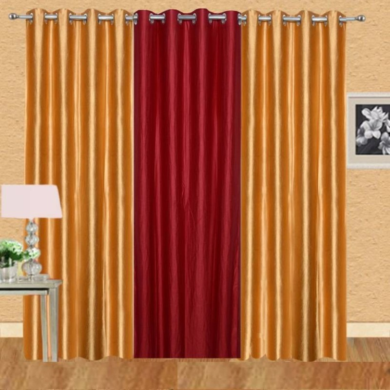 iDOLESHOP 213.5 cm (7 ft) Polyester Door Curtain (Pack Of 3)(Solid, Gold, Maroon)