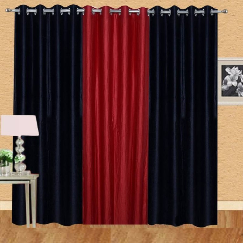 iDOLESHOP 274.5 cm (9 ft) Polyester Long Door Curtain (Pack Of 3)(Solid, Red, Black)