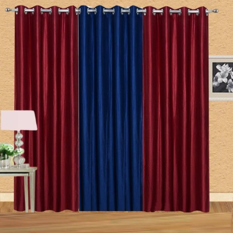 iDOLESHOP 213.5 cm (7 ft) Polyester Door Curtain (Pack Of 3)(Solid, Brown, Blue)