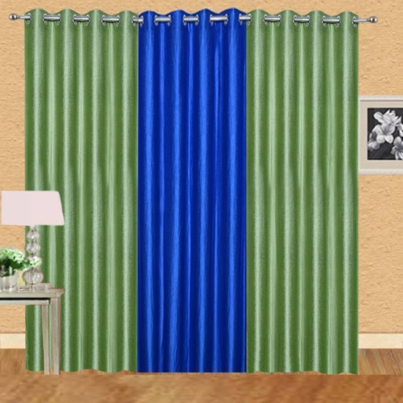 iDOLESHOP 213.5 cm (7 ft) Polyester Door Curtain (Pack Of 3)(Solid, Green, Blue)