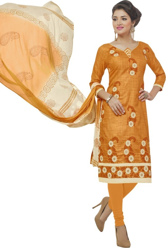 Swaron Cotton Silk Blend Embroidered Salwar Suit Dupatta Material(Un-stitched)