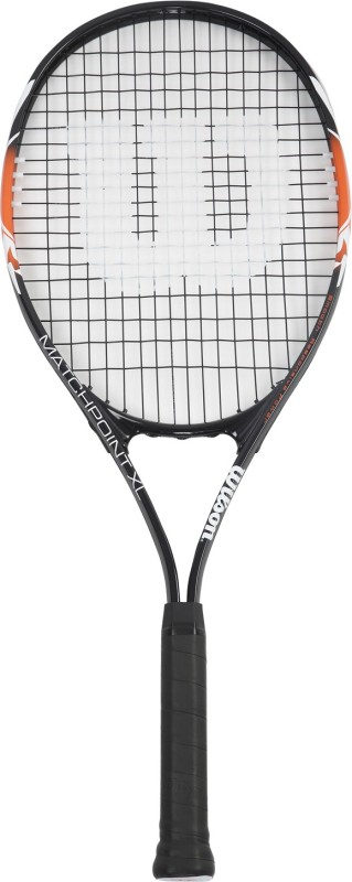 Wilson Match Point Black, Orange Strung Tennis Racquet(G3 - 4 3/8 Inches, 290 g)