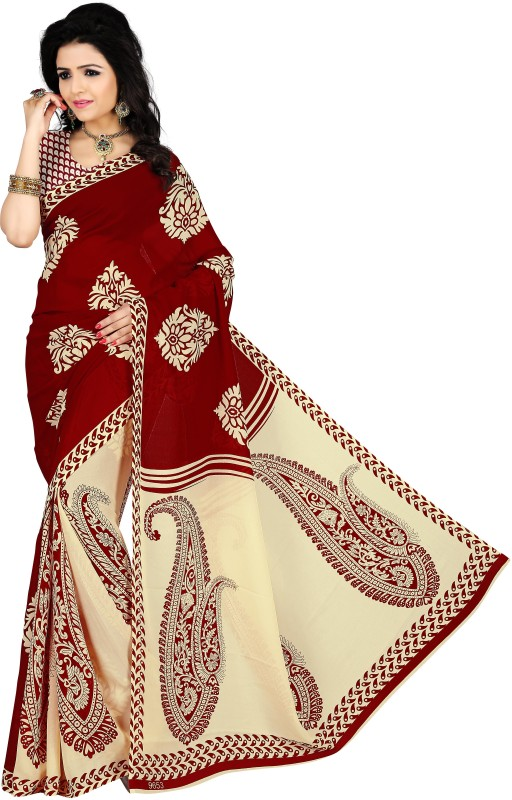 Vimalnath Synthetics Floral Print Fashion Georgette Saree(Maroon)