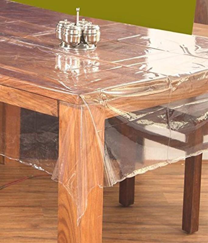 Kart Bazaar Solid 6 Seater Table Cover(Transparent, PVC, Plastic)