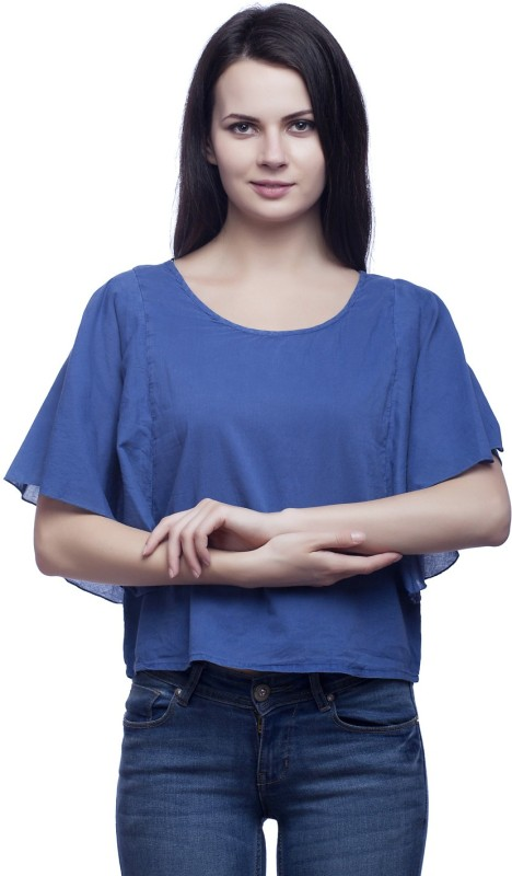 MansiCollections Casual Butterfly Sleeve Solid Women's Blue Top