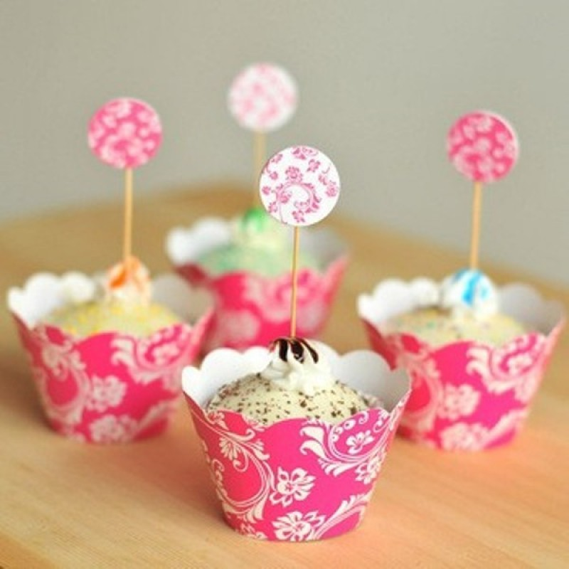 Funcart Pink Floral cupcake wraps & picks (12pcs/pack) Floral paper Gift Wrapper(Mutlicolor)