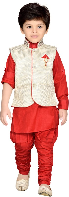 AJ Dezines Boys Festive & Party Kurta, Waistcoat and Pyjama Set(Red Pack of 1)