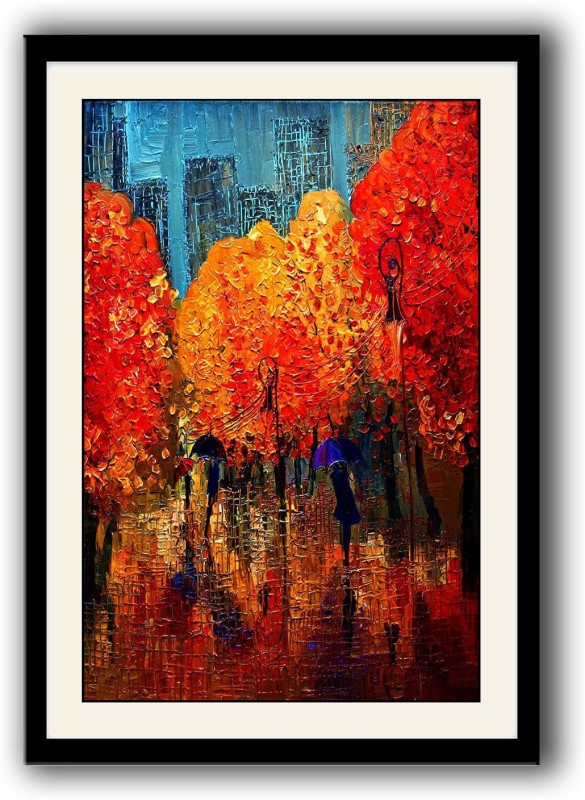 Artifa Spring Orange Trees framed wall painting Canvas 14 inch x 10 inch Painting