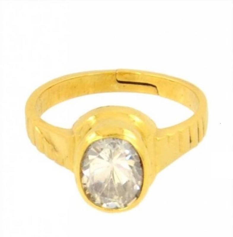 Gruvi 6.25 Heera Rashi Ratan With Lab Test Stone Diamond Platinum Plated Ring