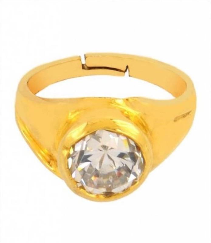 Gruvi 7.25 Diamond Rashi Ratan With Lab Test Stone Diamond Platinum Plated Ring