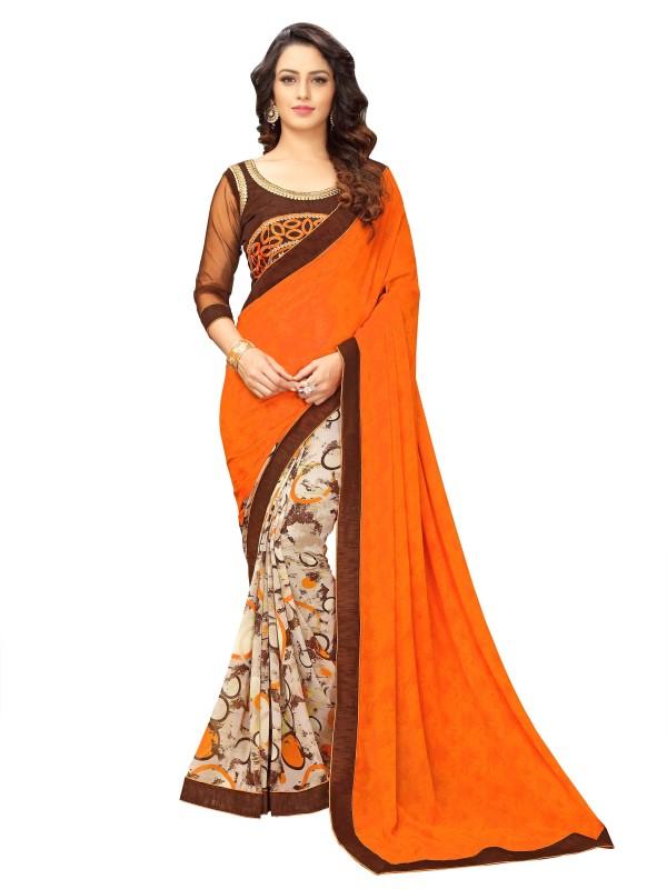onlinefayda Printed Fashion Georgette Saree(Orange, Beige)