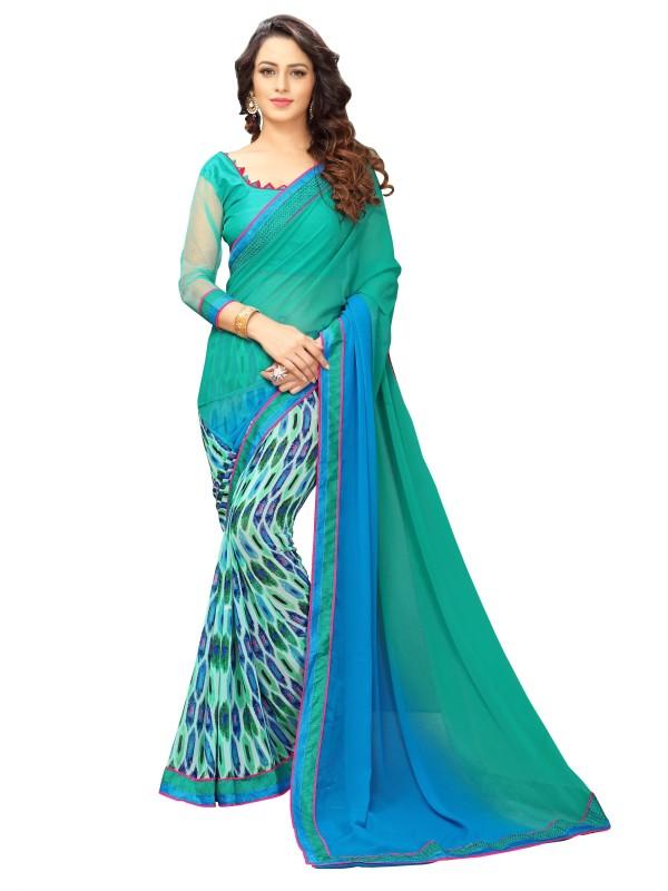 onlinefayda Printed Fashion Georgette Saree(Blue, Light Green)