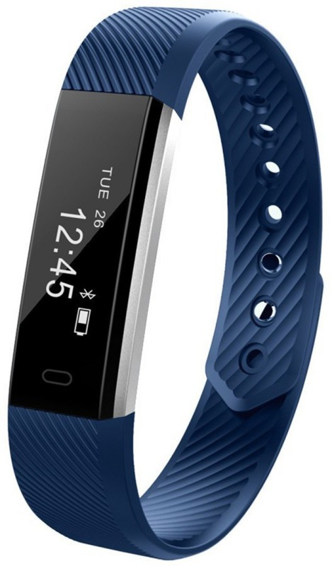 fbandz ID115HR Fitness Smart Band(Blue Strap, Size : Regular)