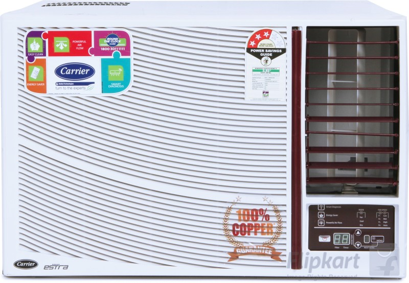Carrier 1.5 Ton 3 Star BEE Rating 2017 Window AC - White(18K Estra 3 Star - CACW18EA3W, Copper Condenser)