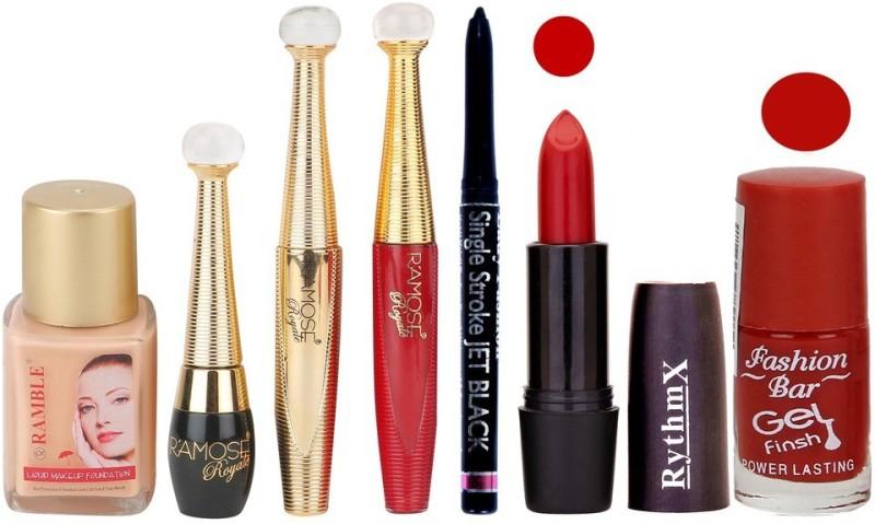 Ramble Makup kit With Foundation,Eyeliner,Mascara,Sindoor,Jet Black Kajal,Lipstick and Nail Polish(Set of 7)