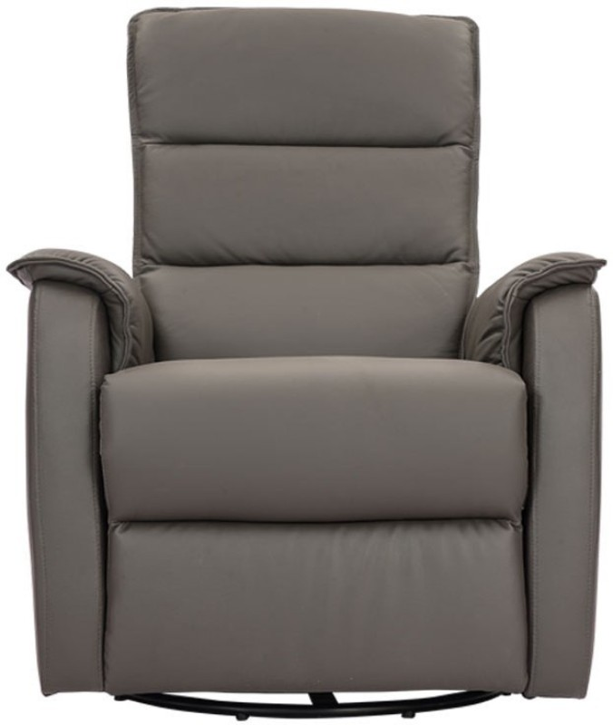 Durian Leather Manual Swivel & Rocker Recliners(Finish Color - Grey)