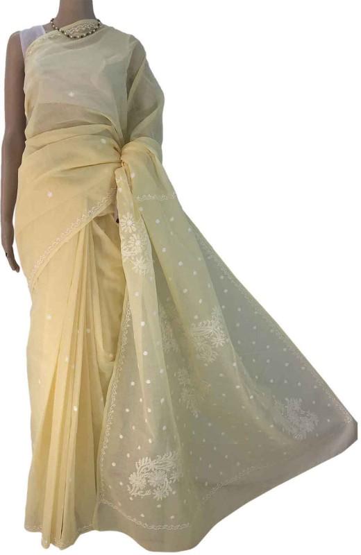 RZU Embroidered Lucknow Chikankari Handloom Cotton Saree(Yellow)