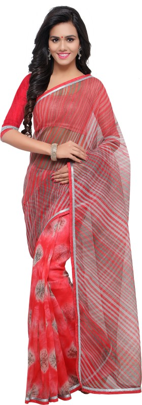 Blissta Printed Bandhej Kota Cotton, Net Saree(Multicolor)