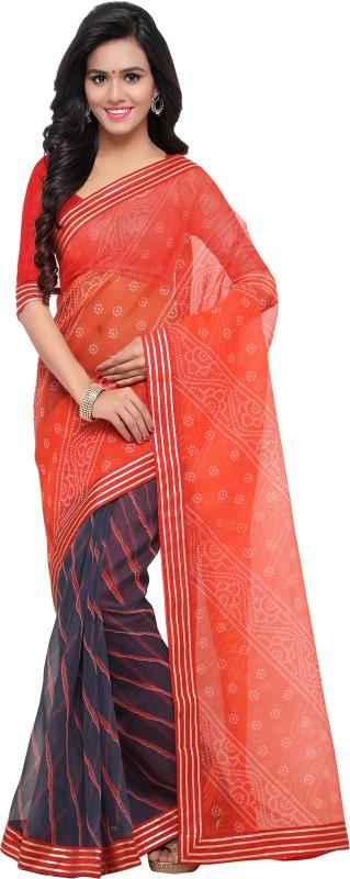 Blissta Printed Bandhani Kota Cotton, Net Saree(Multicolor)