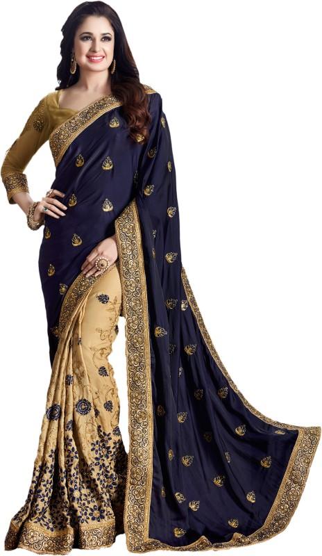 M.S.Retail Embroidered Kanjivaram Silk, Satin Saree(Dark Blue)
