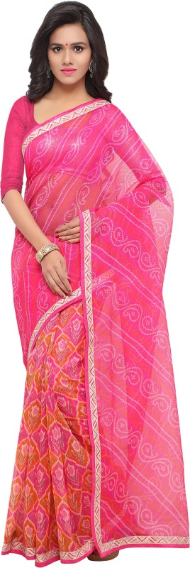 Blissta Printed Bandhani Kota Cotton, Net Saree(Multicolor)
