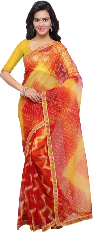 Blissta Printed Kota Doria Kota Cotton, Net Saree(Multicolor)
