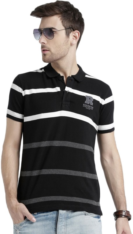 Roadster Striped Mens Polo Neck Black T-Shirt