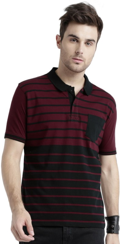 Roadster Striped Mens Polo Neck Pink, Black T-Shirt