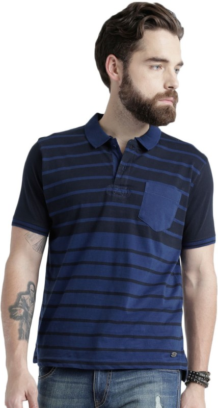 Roadster Striped Mens Polo Neck Dark Blue, Black T-Shirt