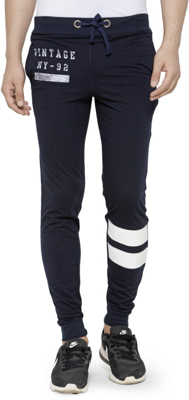 4. Teesort Graphic Print, Solid Men's Blue Track Pants