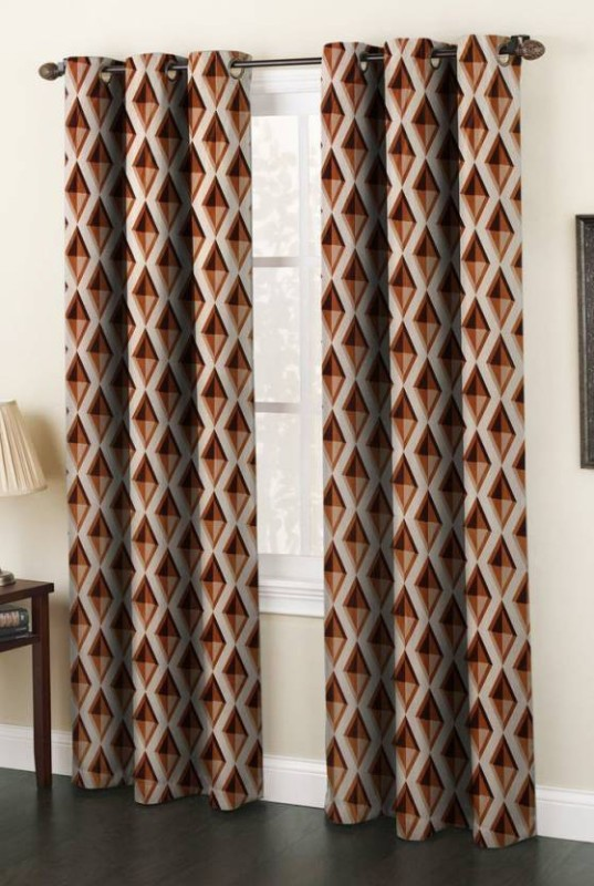 SRKS Polyester Coffee Printed Eyelet Door Curtain(213 cm in Height, Pack of 2)