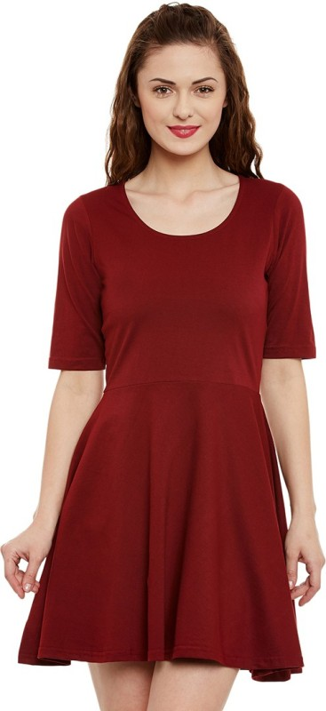 Miss Chase Women's Skater Maroon Dress